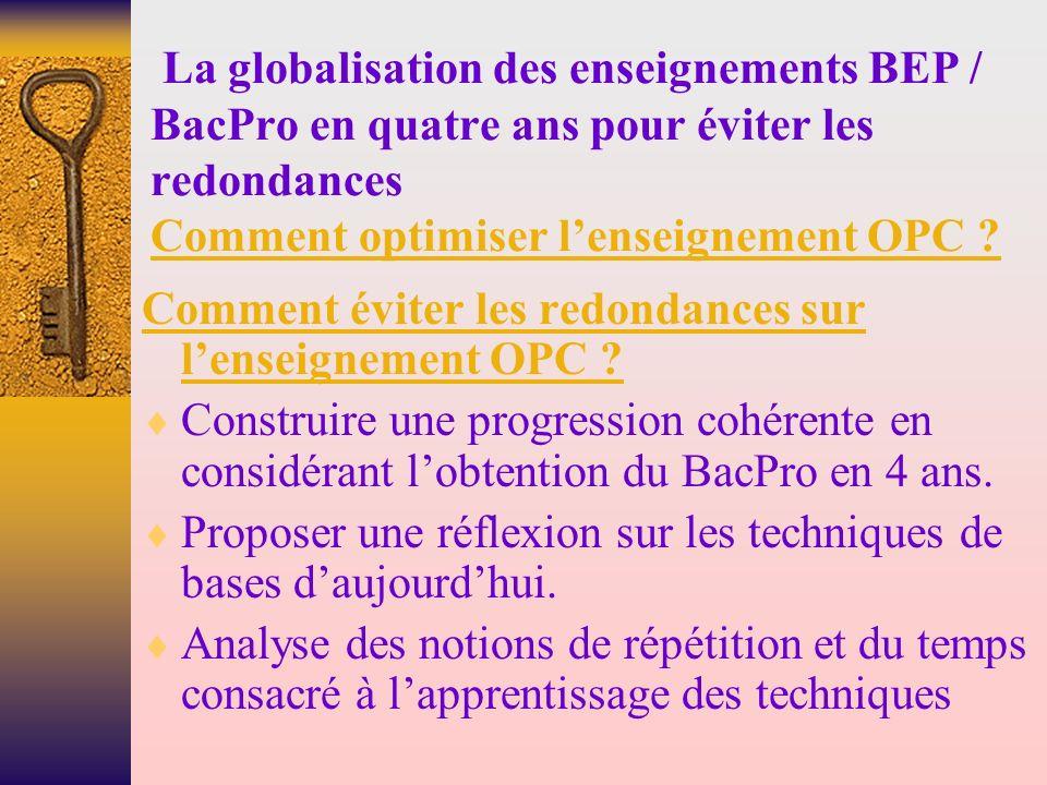La globalisation des enseignements BEP / BacPro en quatre ans pour éviter les redondances Comment optimiser l'enseignement OPC
