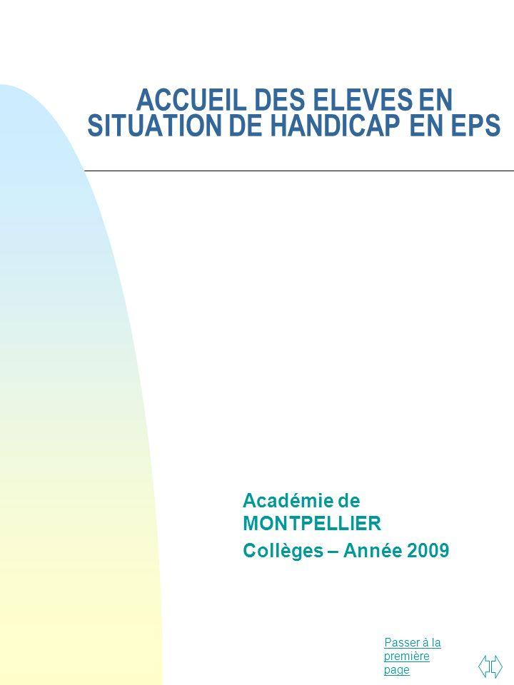 ACCUEIL DES ELEVES EN SITUATION DE HANDICAP EN EPS