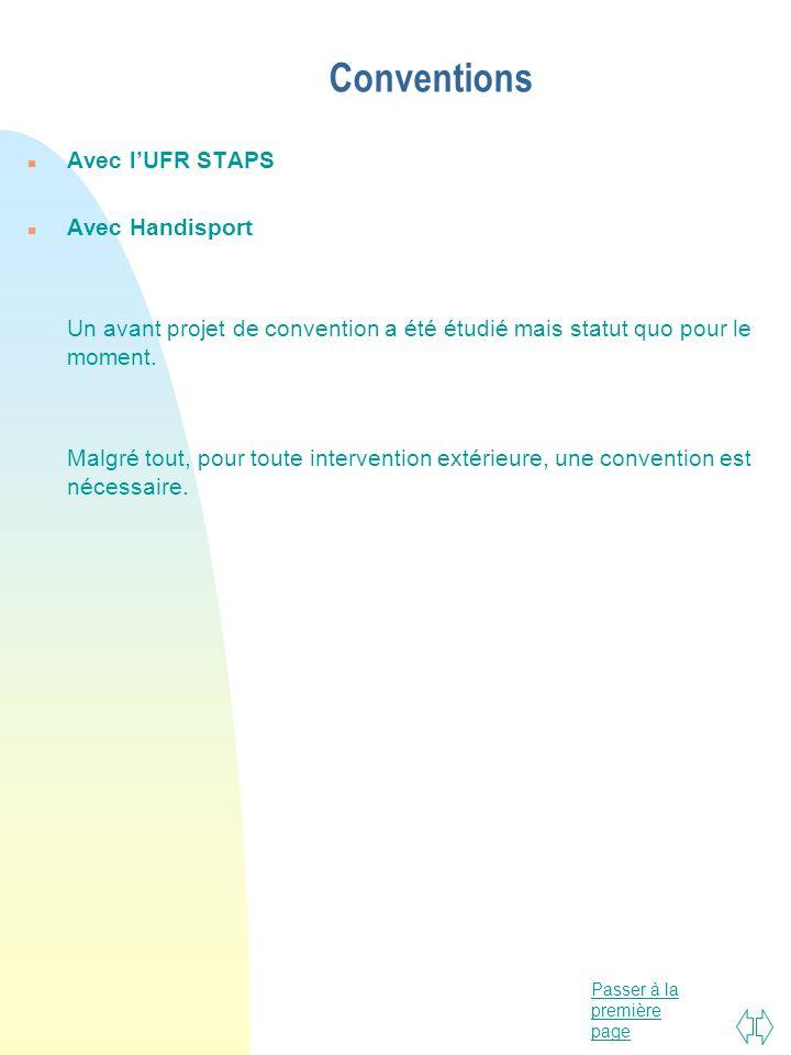 Conventions Avec l'UFR STAPS Avec Handisport