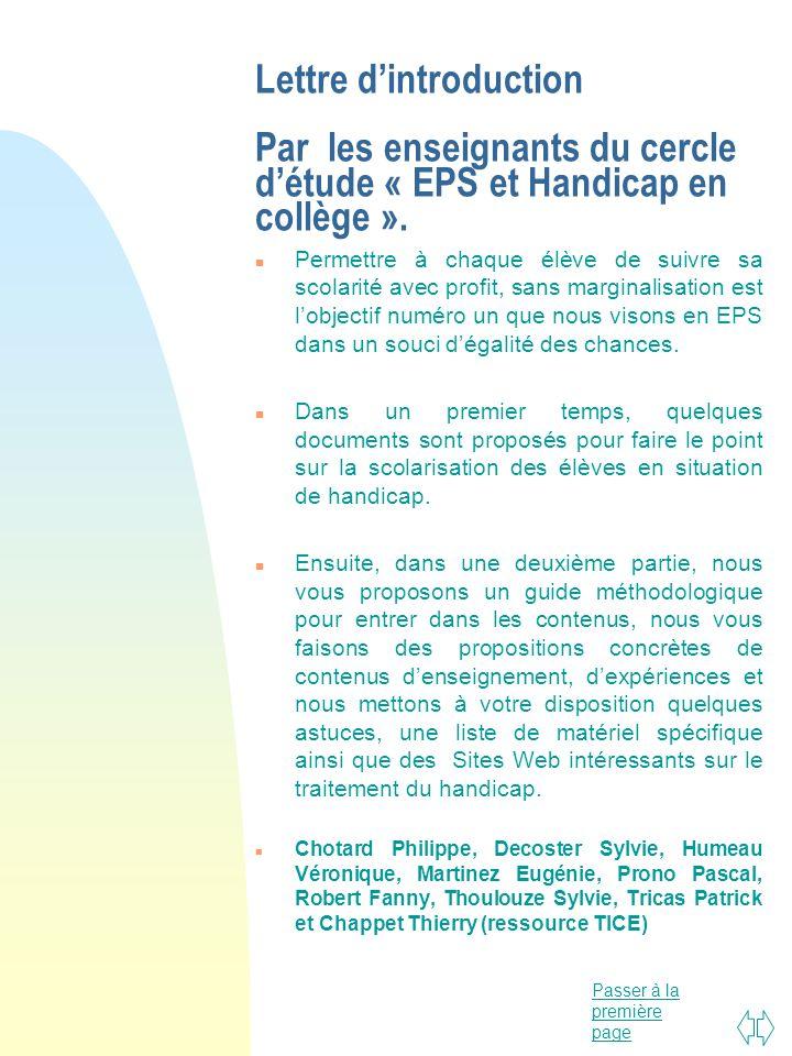 Lettre d'introduction Par les enseignants du cercle d'étude « EPS et Handicap en collège ».