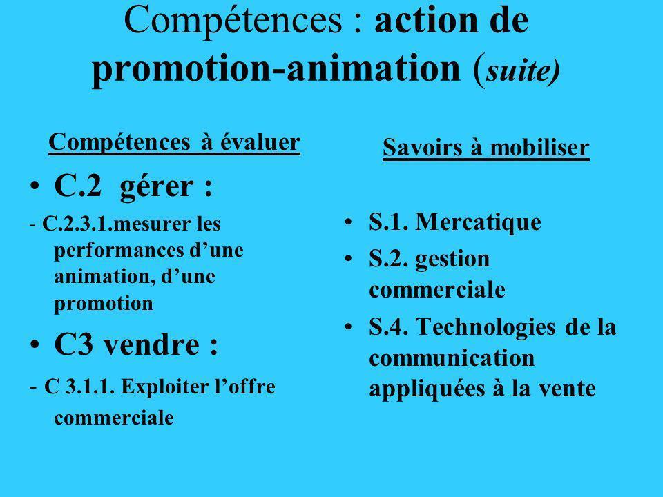 Compétences : action de promotion-animation (suite)