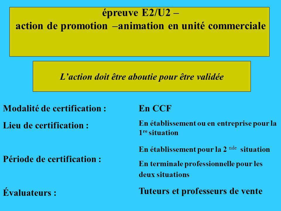 épreuve E2/U2 – action de promotion –animation en unité commerciale