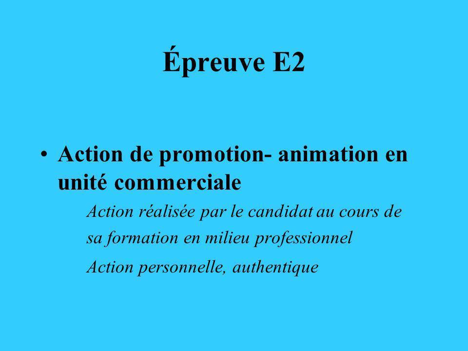 Épreuve E2 Action de promotion- animation en unité commerciale