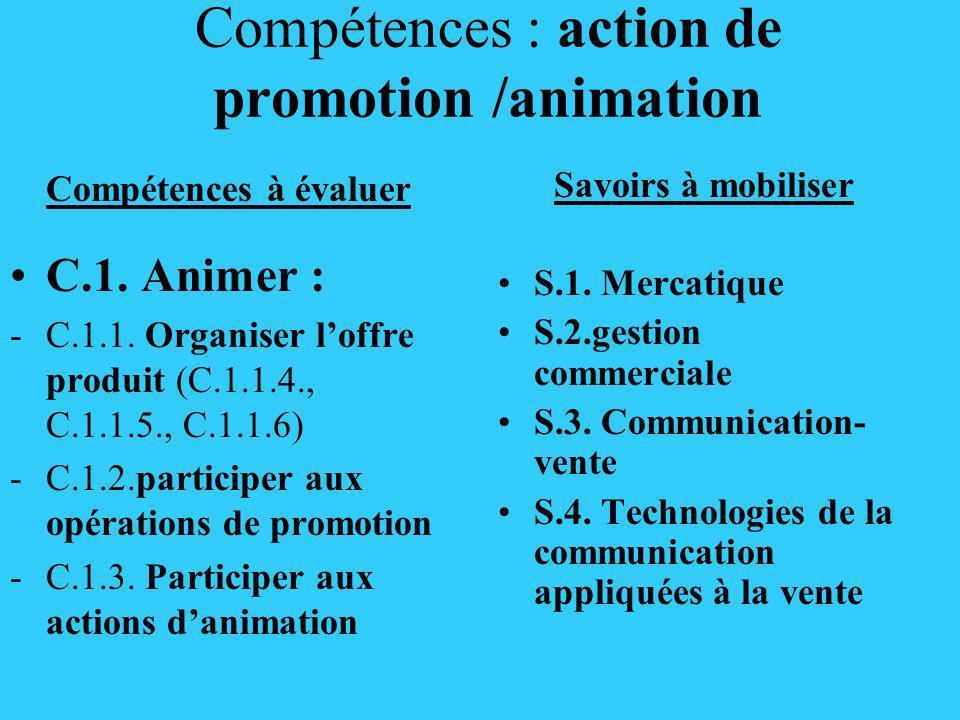 Compétences : action de promotion /animation