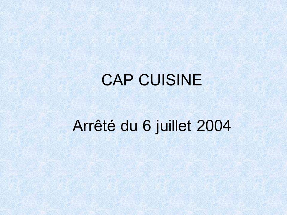 CAP CUISINE Arrêté du 6 juillet 2004