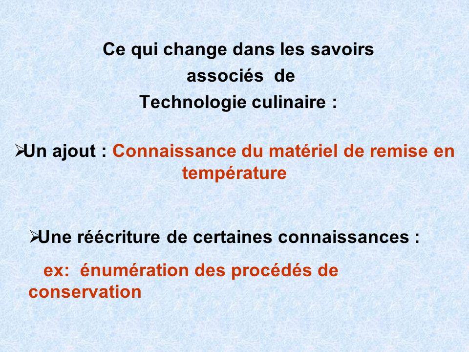 Ce qui change dans les savoirs associés de Technologie culinaire :