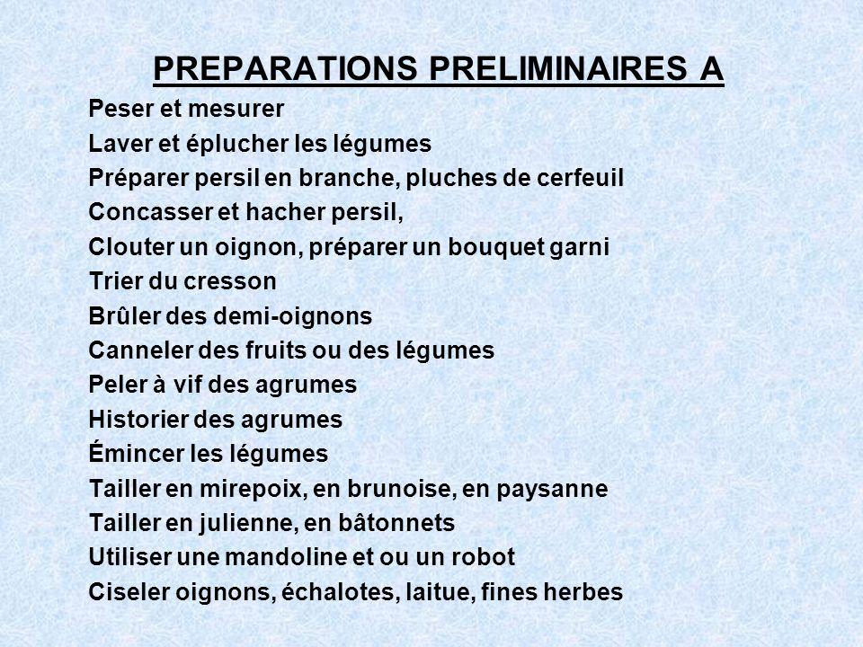 PREPARATIONS PRELIMINAIRES A