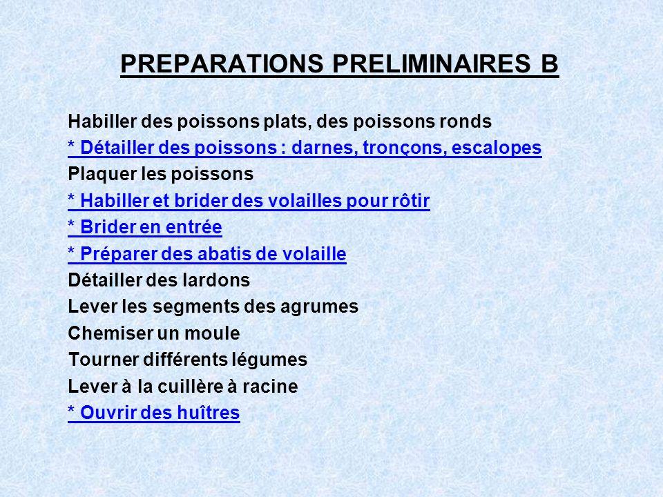 PREPARATIONS PRELIMINAIRES B