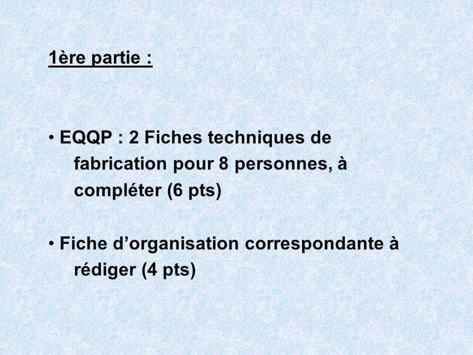 1ère partie : EQQP : 2 Fiches techniques de. fabrication pour 8 personnes, à. compléter (6 pts) Fiche d'organisation correspondante à.
