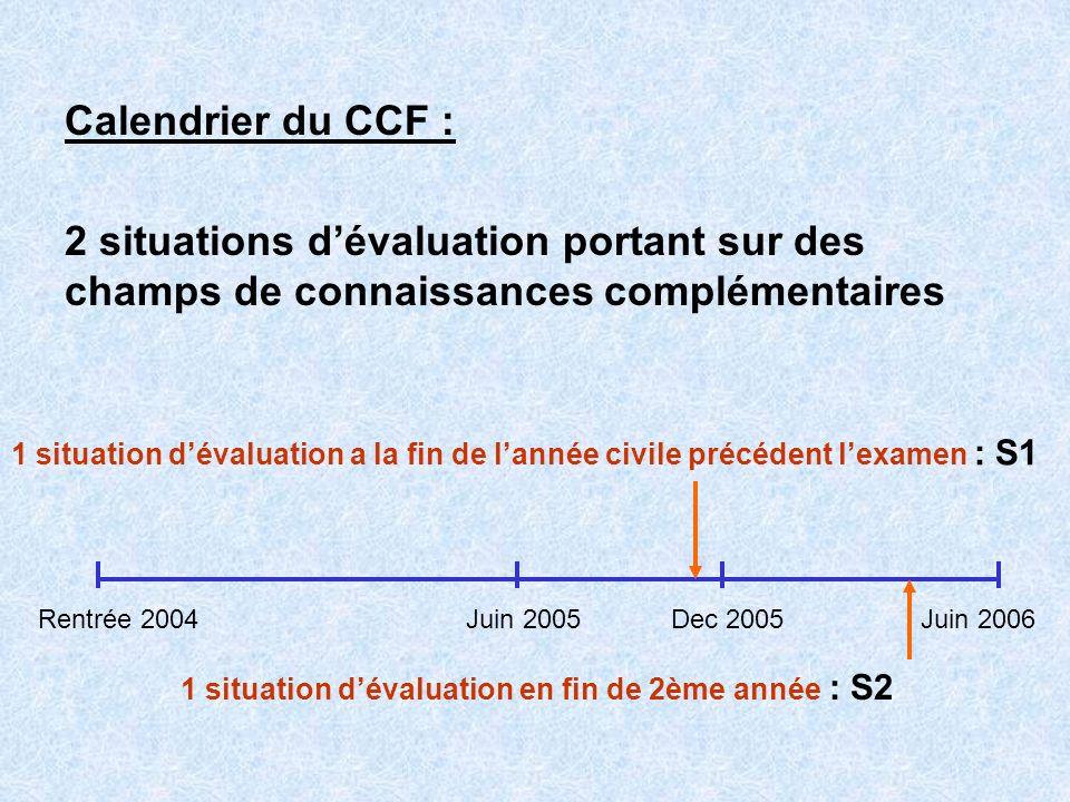 Calendrier du CCF : 2 situations d'évaluation portant sur des champs de connaissances complémentaires.