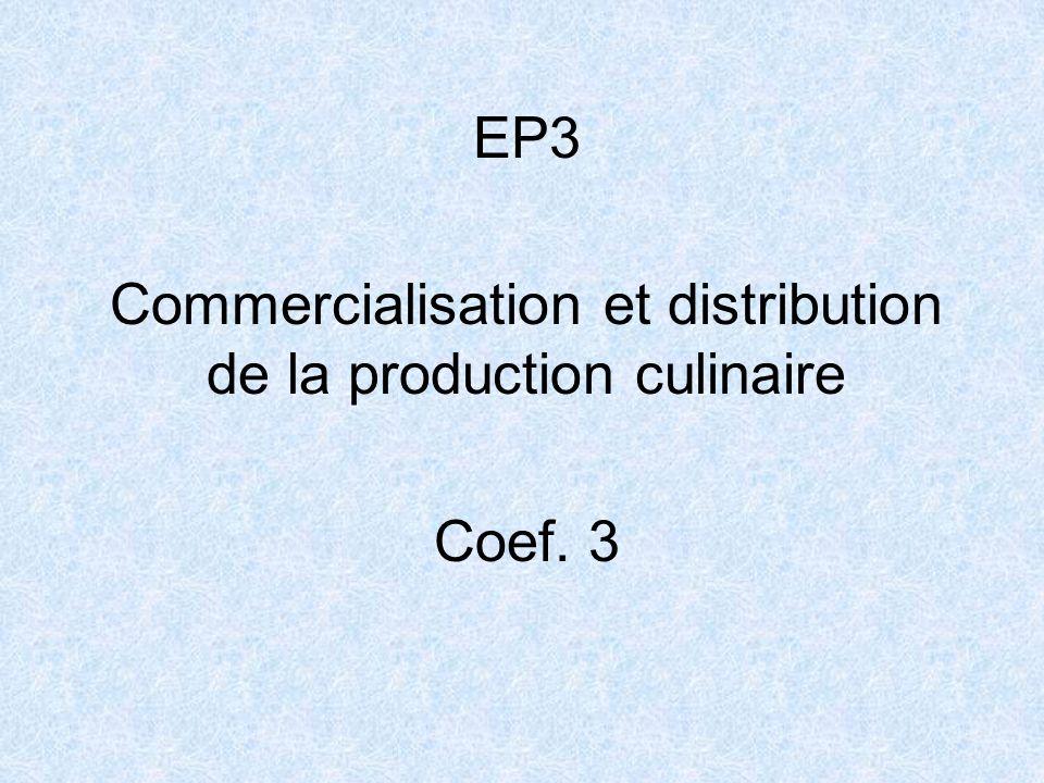 Commercialisation et distribution de la production culinaire