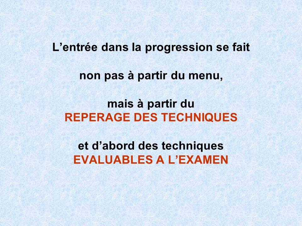 L'entrée dans la progression se fait non pas à partir du menu, mais à partir du REPERAGE DES TECHNIQUES et d'abord des techniques EVALUABLES A L'EXAMEN