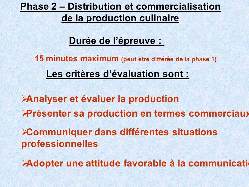 Phase 2 – Distribution et commercialisation de la production culinaire