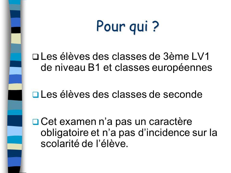 Pour qui Les élèves des classes de 3ème LV1 de niveau B1 et classes européennes. Les élèves des classes de seconde.