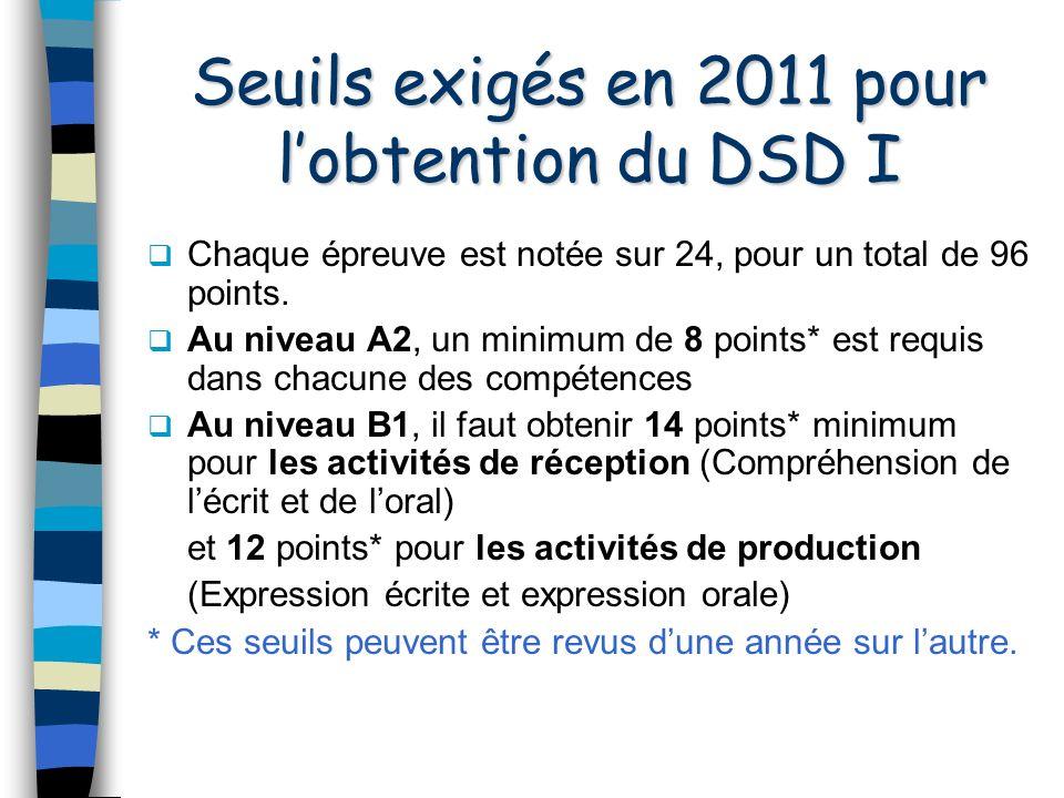 Seuils exigés en 2011 pour l'obtention du DSD I