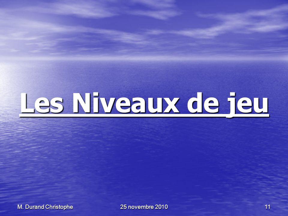 Les Niveaux de jeu M. Durand Christophe 25 novembre 2010