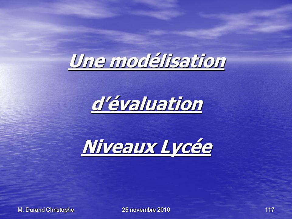 Une modélisation d'évaluation Niveaux Lycée