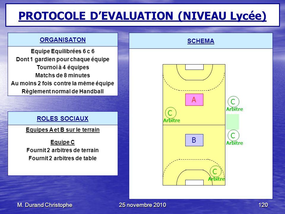 PROTOCOLE D'EVALUATION (NIVEAU Lycée)