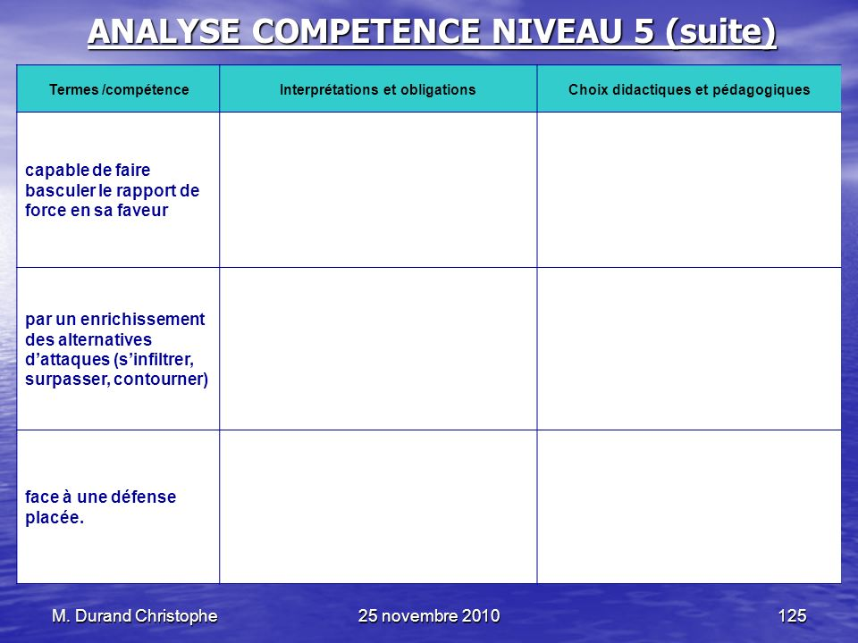 ANALYSE COMPETENCE NIVEAU 5 (suite)