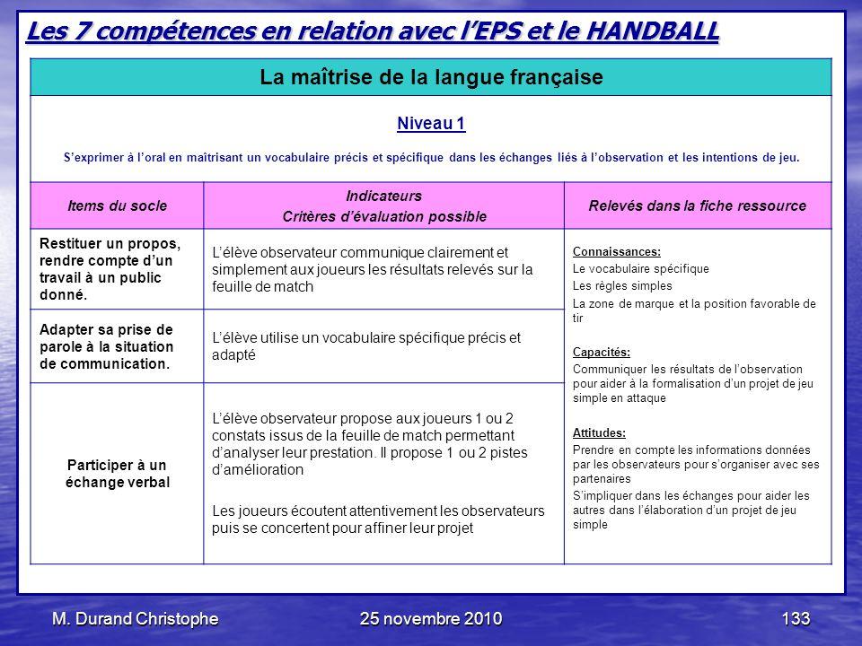 Les 7 compétences en relation avec l'EPS et le HANDBALL