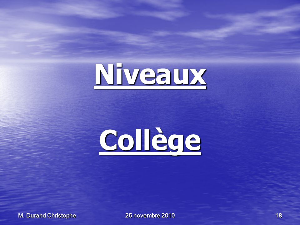 Niveaux Collège M. Durand Christophe 25 novembre 2010