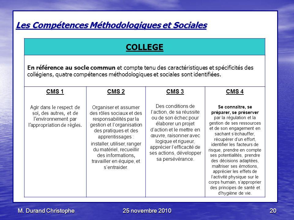 Les Compétences Méthodologiques et Sociales COLLEGE