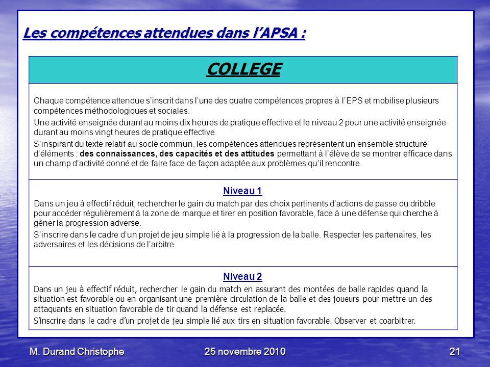 COLLEGE Les compétences attendues dans l'APSA : Niveau 1 Niveau 2