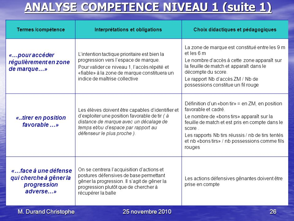 ANALYSE COMPETENCE NIVEAU 1 (suite 1)