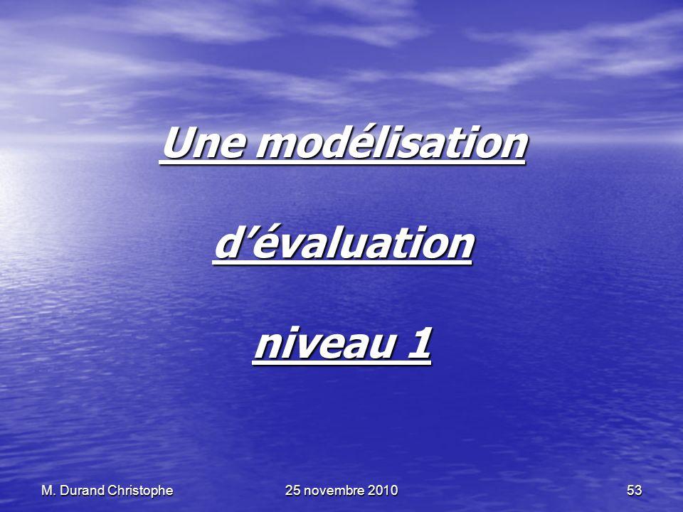 Une modélisation d'évaluation niveau 1