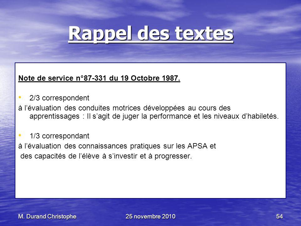 Rappel des textes Note de service n°87-331 du 19 Octobre 1987.