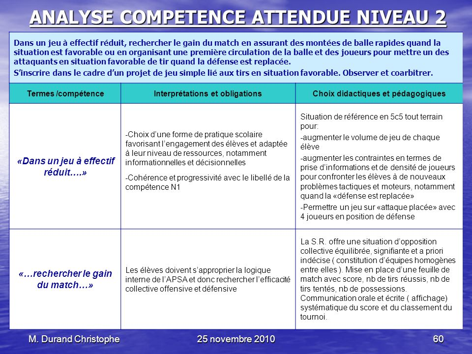 ANALYSE COMPETENCE ATTENDUE NIVEAU 2