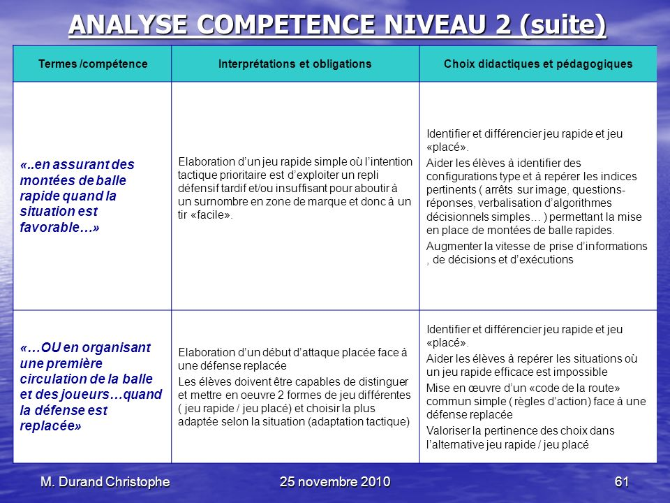 ANALYSE COMPETENCE NIVEAU 2 (suite)