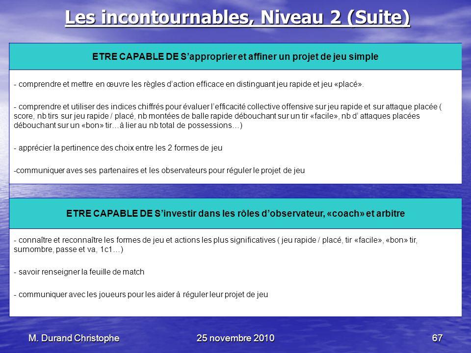 Les incontournables, Niveau 2 (Suite)