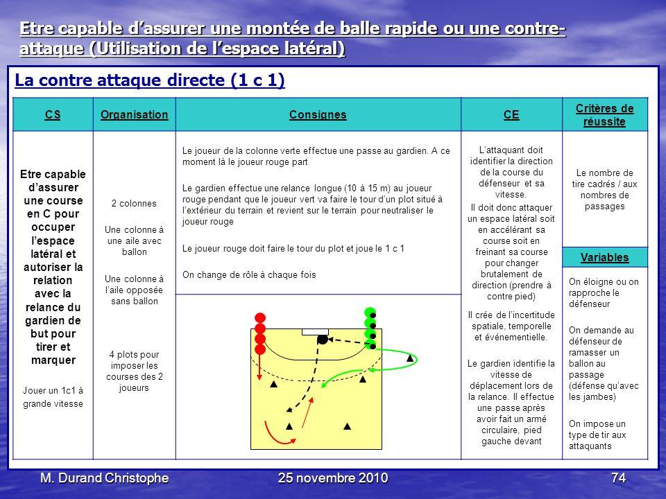 La contre attaque directe (1 c 1)