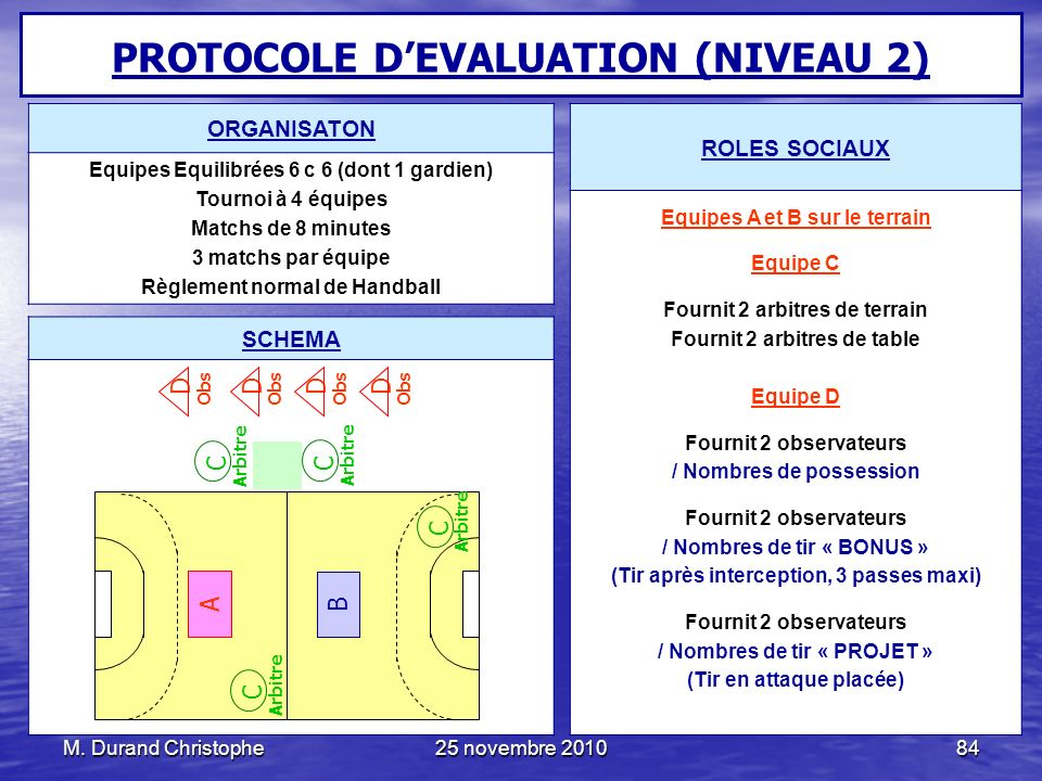 PROTOCOLE D'EVALUATION (NIVEAU 2)