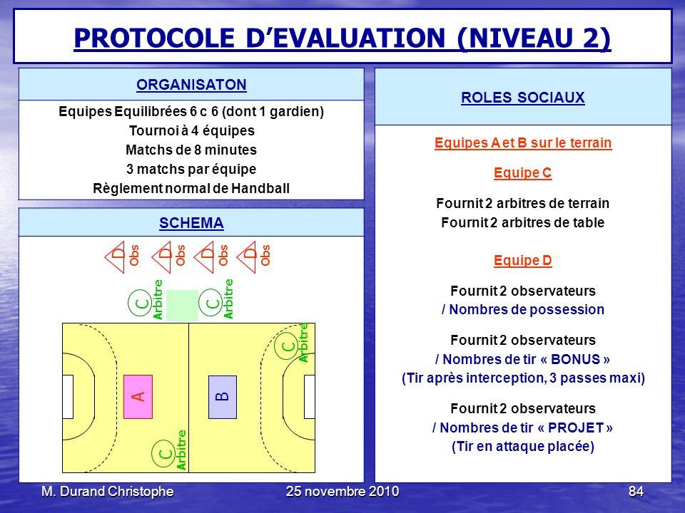 PROTOCOLE D'EVALUATION (NIVEAU 2)