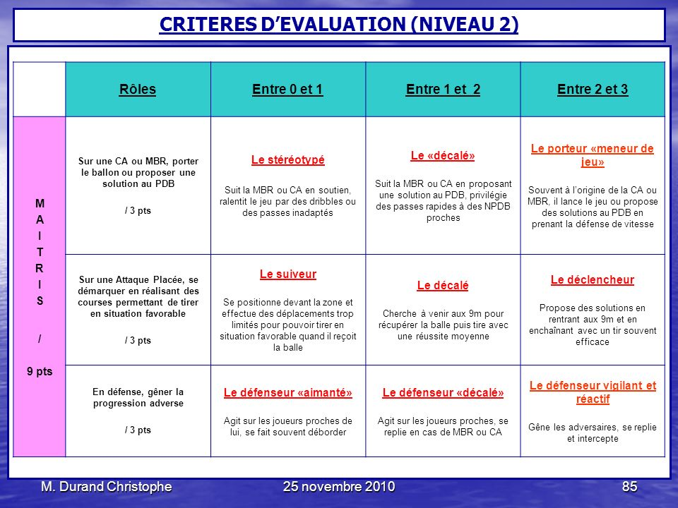 CRITERES D'EVALUATION (NIVEAU 2)