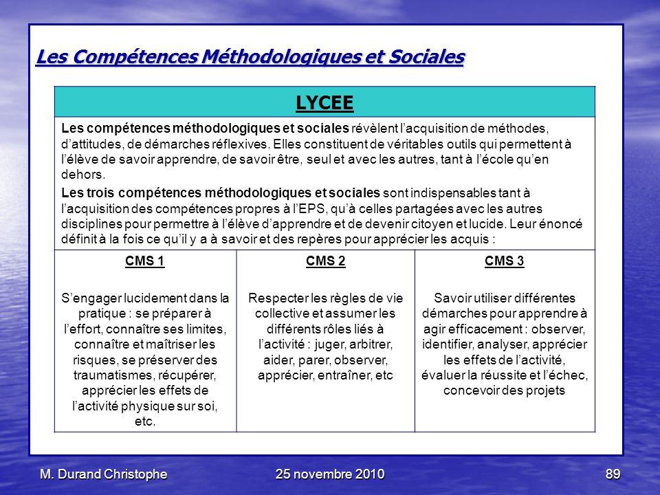 Les Compétences Méthodologiques et Sociales LYCEE