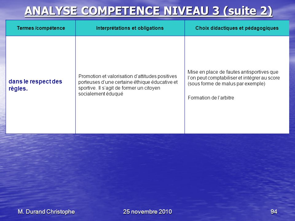 ANALYSE COMPETENCE NIVEAU 3 (suite 2)