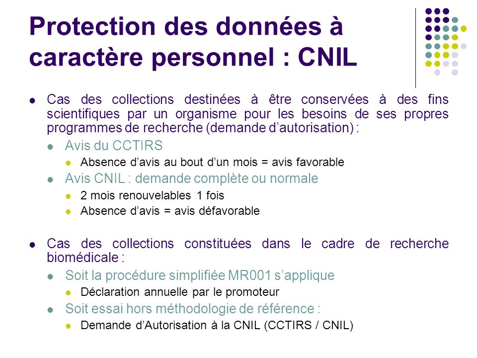 Protection des données à caractère personnel : CNIL