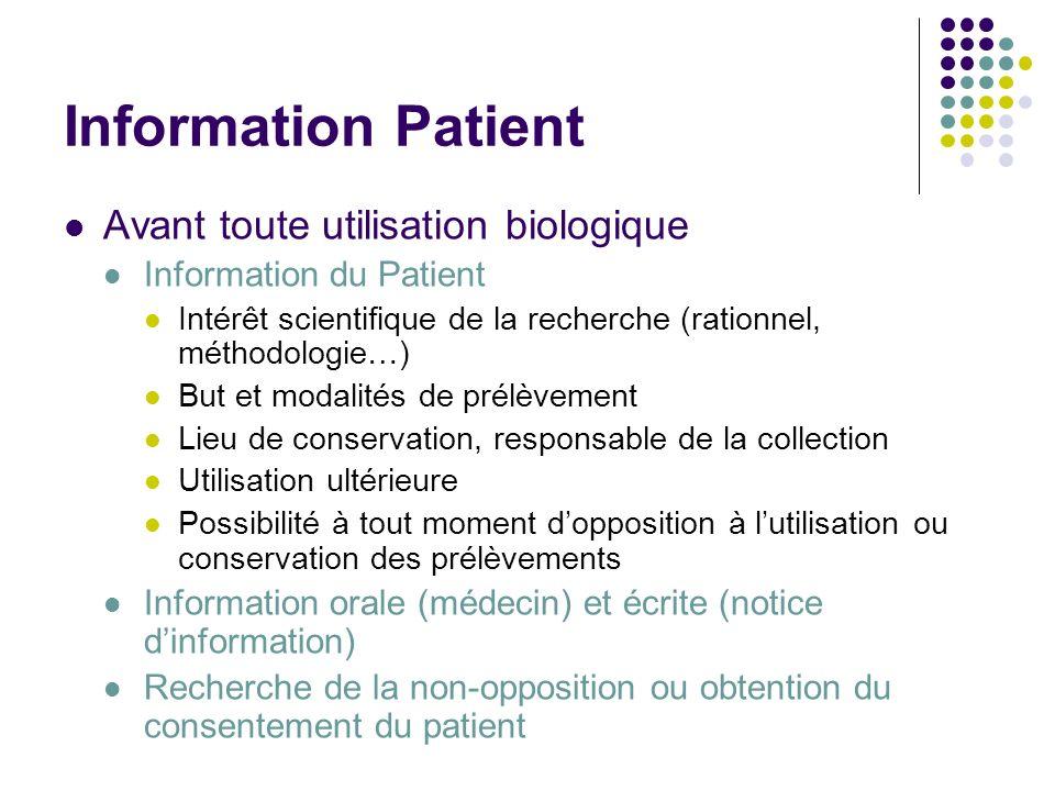Information Patient Avant toute utilisation biologique