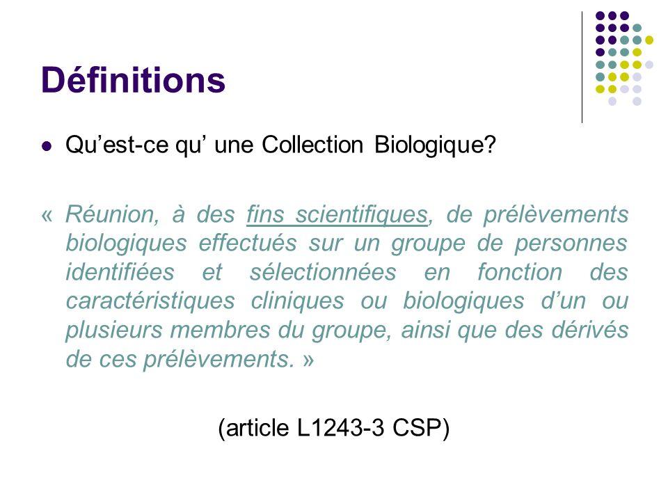 Définitions Qu'est-ce qu' une Collection Biologique