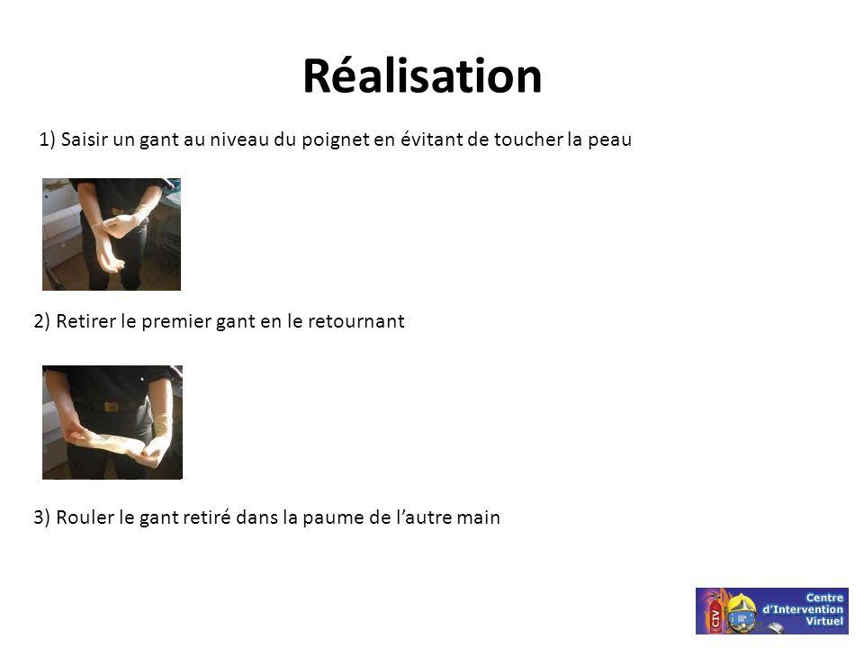 Réalisation 1) Saisir un gant au niveau du poignet en évitant de toucher la peau. 2) Retirer le premier gant en le retournant.