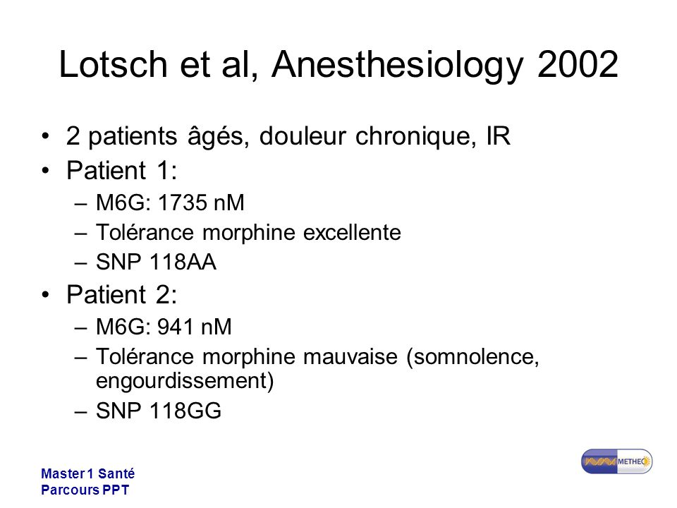 Lotsch et al, Anesthesiology 2002