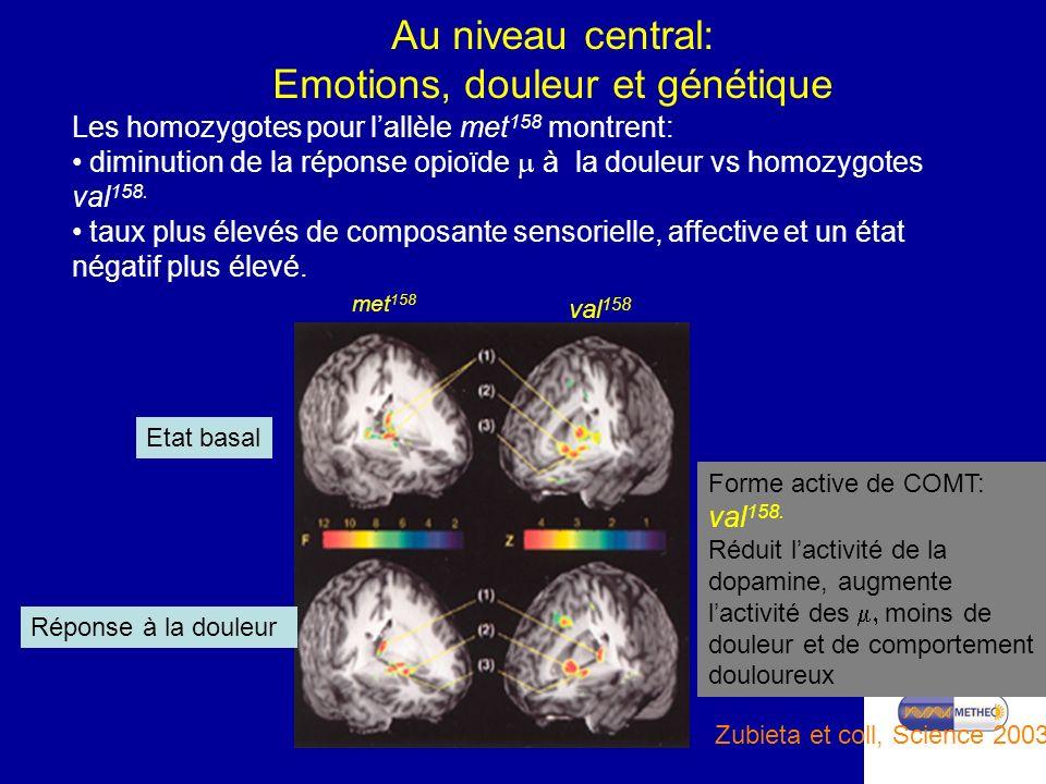 Au niveau central: Emotions, douleur et génétique