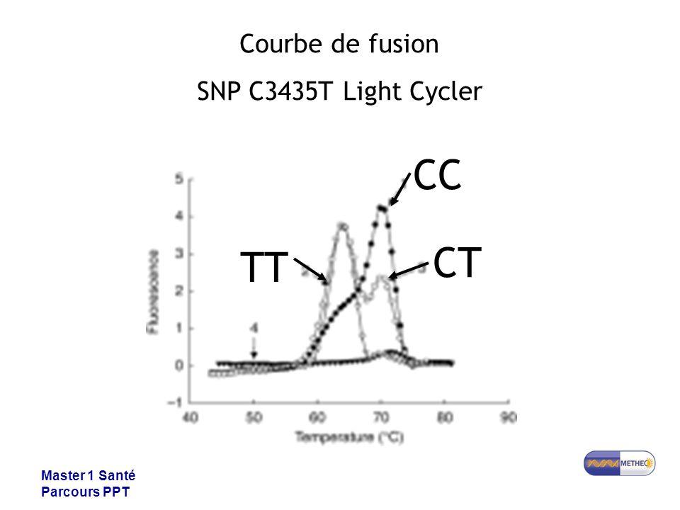 CC CT TT Courbe de fusion SNP C3435T Light Cycler