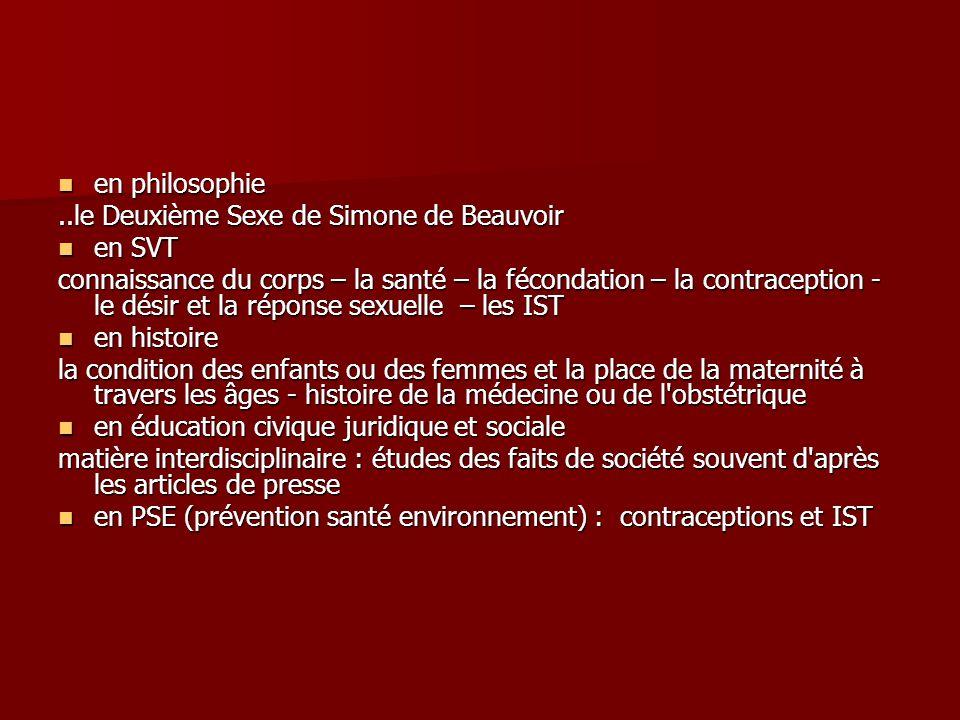 en philosophie ..le Deuxième Sexe de Simone de Beauvoir. en SVT.