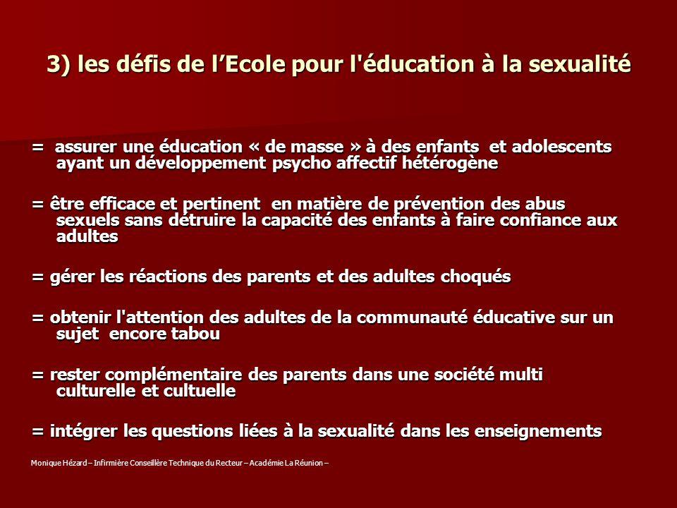 3) les défis de l'Ecole pour l éducation à la sexualité