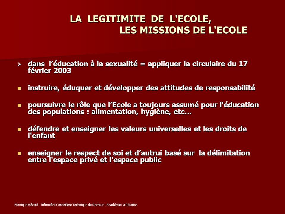 LA LEGITIMITE DE L ECOLE, LES MISSIONS DE L ECOLE