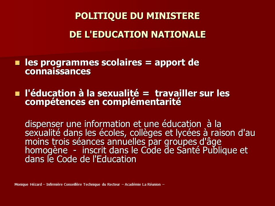 POLITIQUE DU MINISTERE DE L EDUCATION NATIONALE